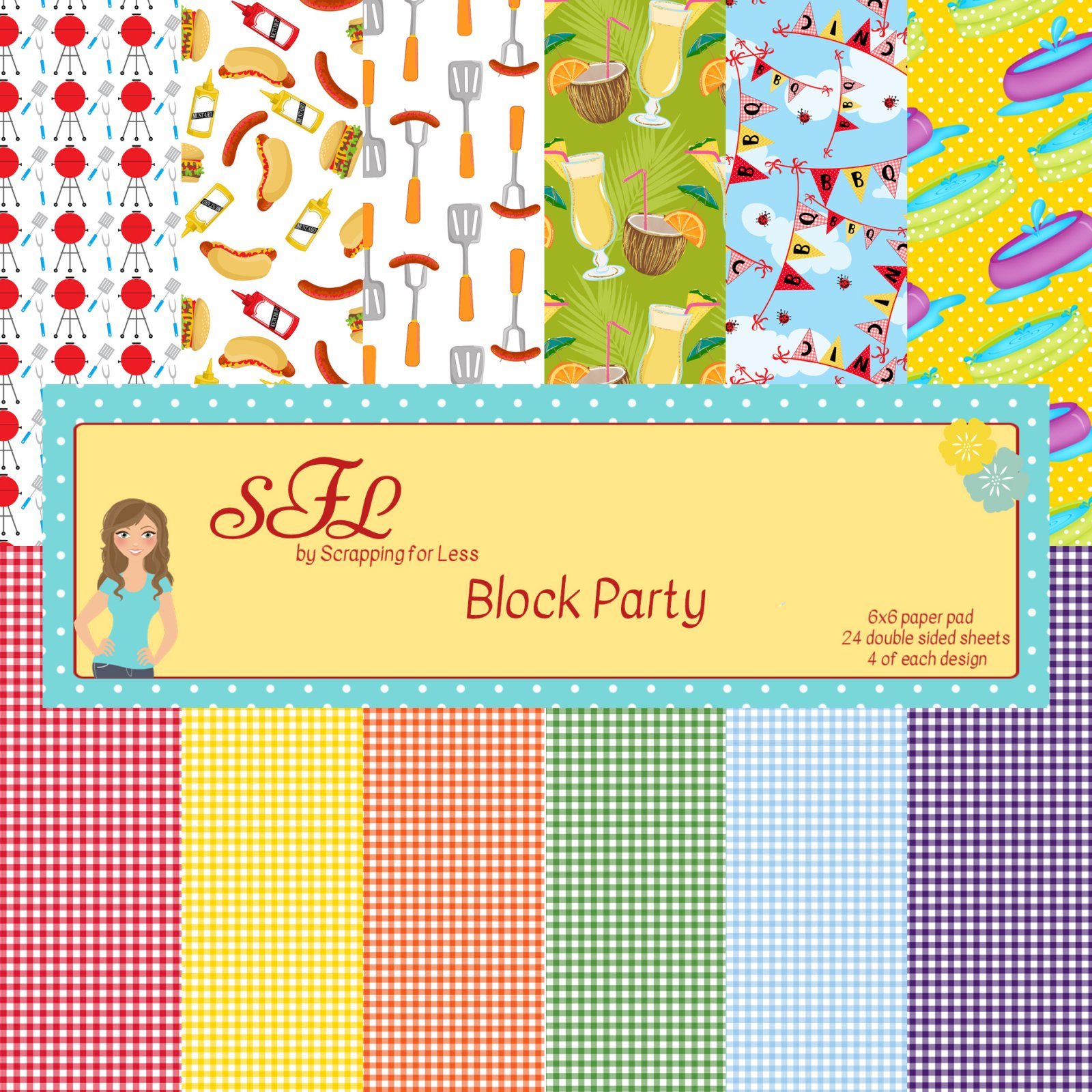 Scrapping for Less Block Party 6x6 Paper Pad