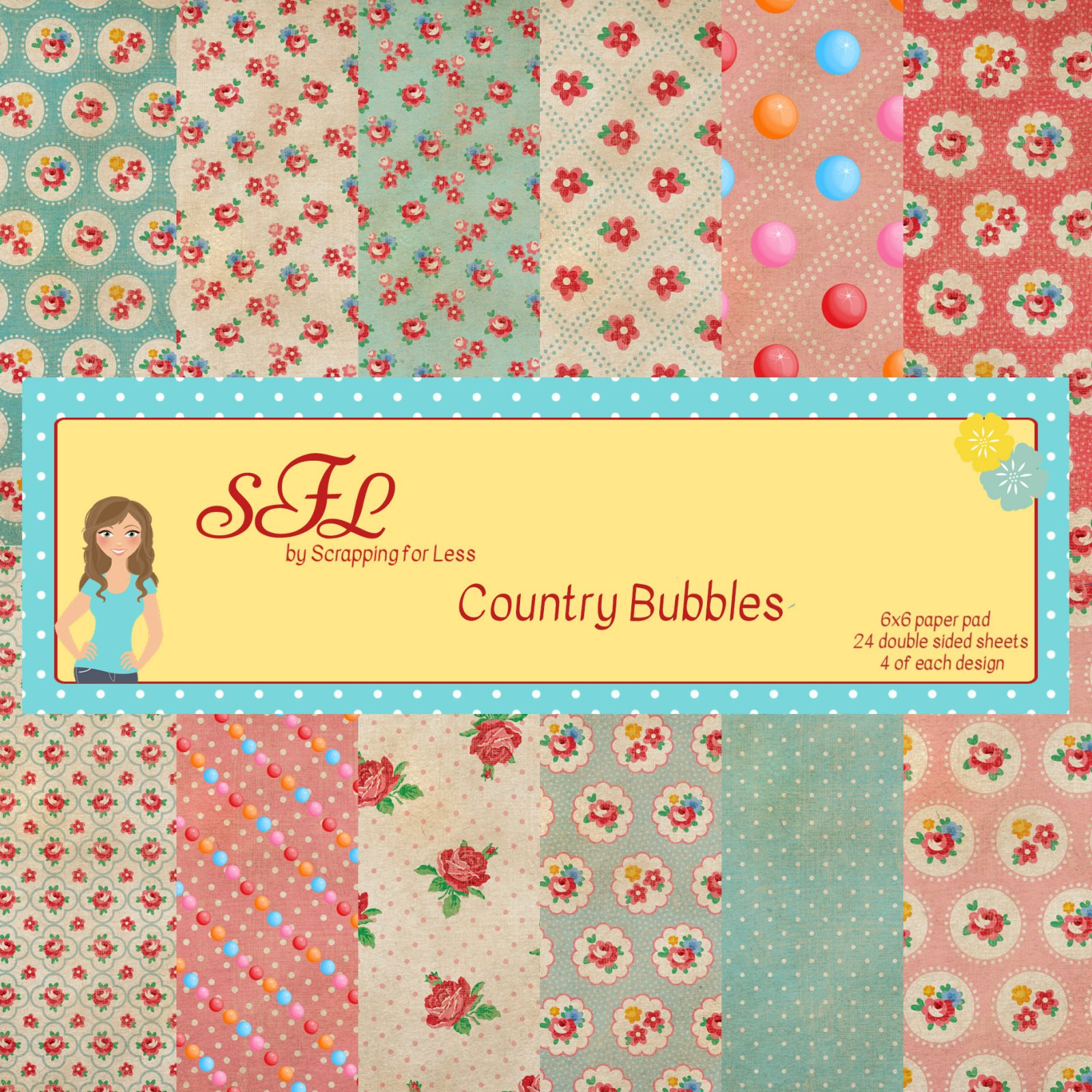 Scrapping for Less Country Bubbles 6x6 Paper Pad