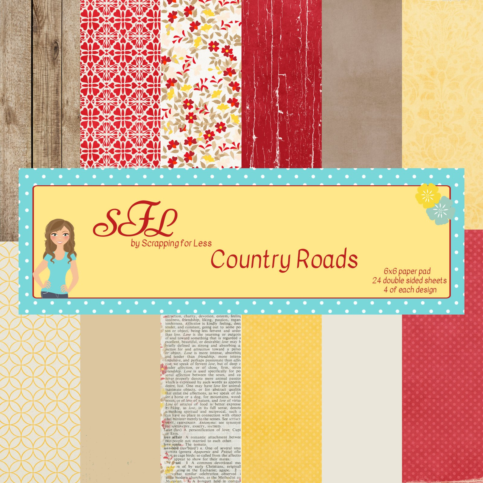 Scrapping for Less Country Roads 6x6 Paper Pad