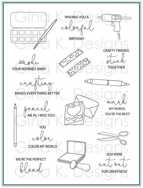 Gina K Designs Clear Stamps Crafty Notes