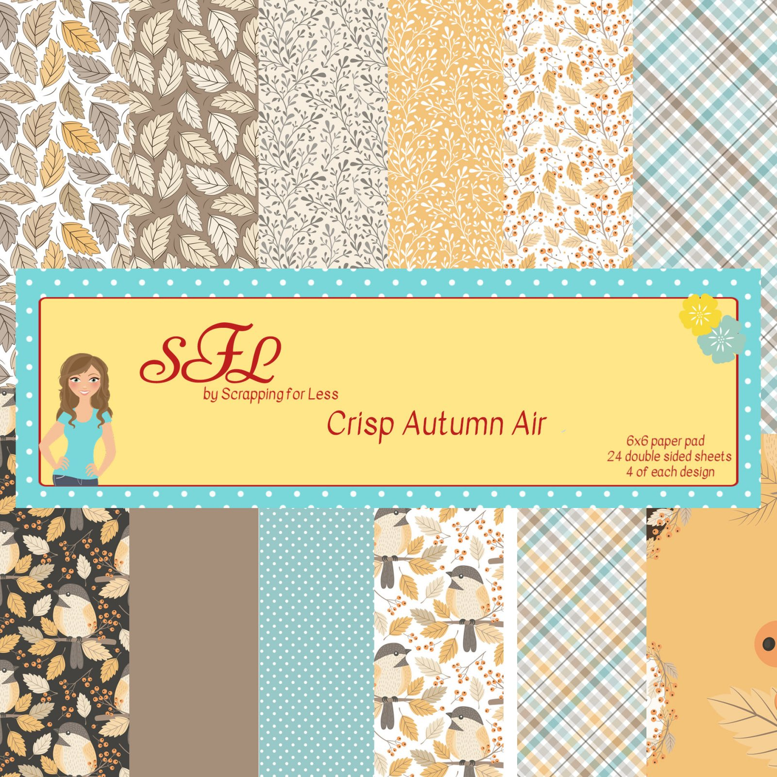 Scrapping for Less Crisp Autumn Air 6x6 Paper Pad -