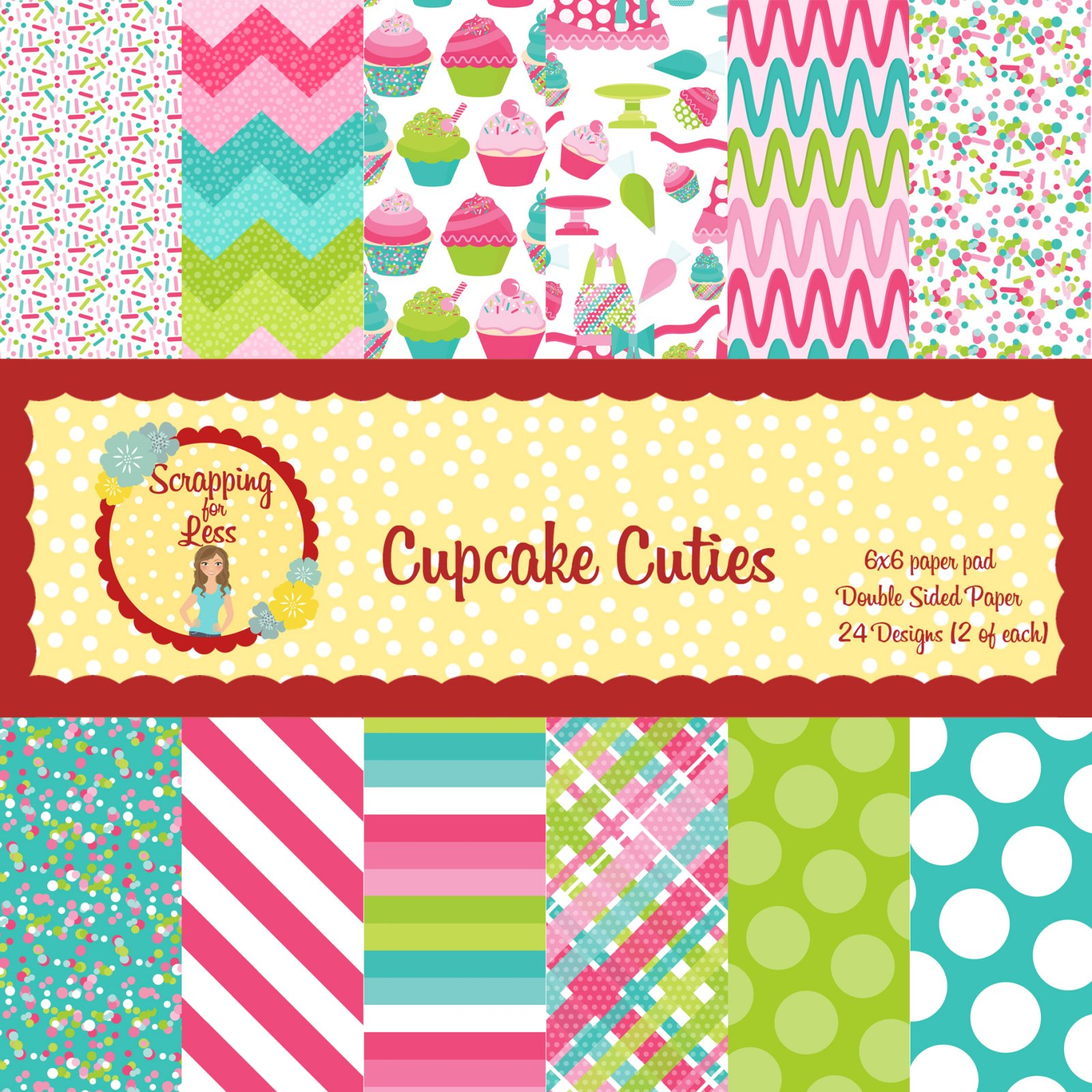 Scrapping for Less Cupcake Cuties 6x6 Paper Pad