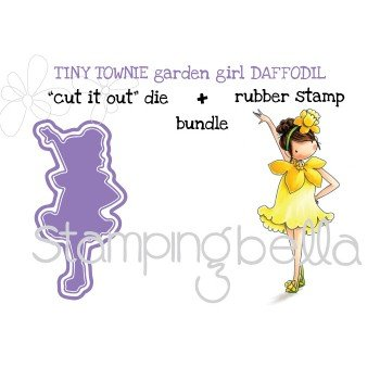 Stamping Bella Cling Stamps-Garden Girl Daffodil Stamp and Die Bundle