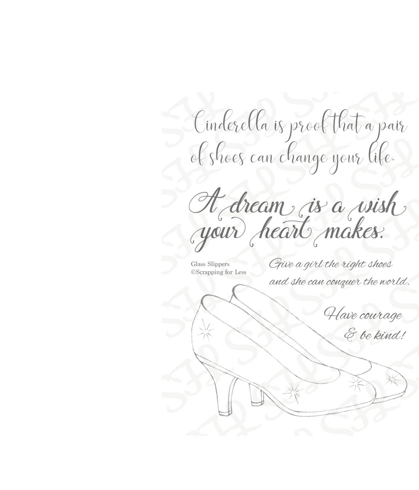 Scrapping for Less Clear Stamp 3x4  Glass Slippers