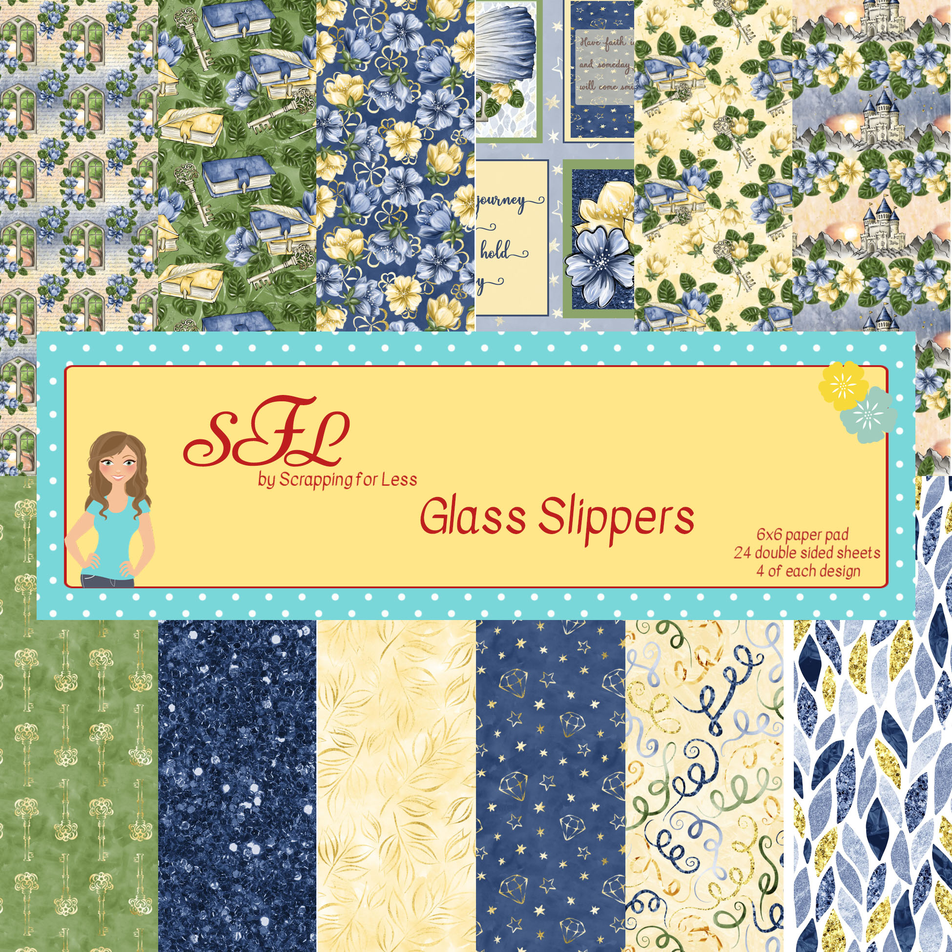Scrapping for Less 6x6 Paper Pad Glass Slippers