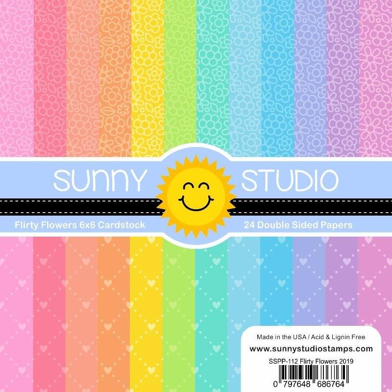 Sunny Studio Pattern Paper Pad 6x6 Flirty Flowers and Dots