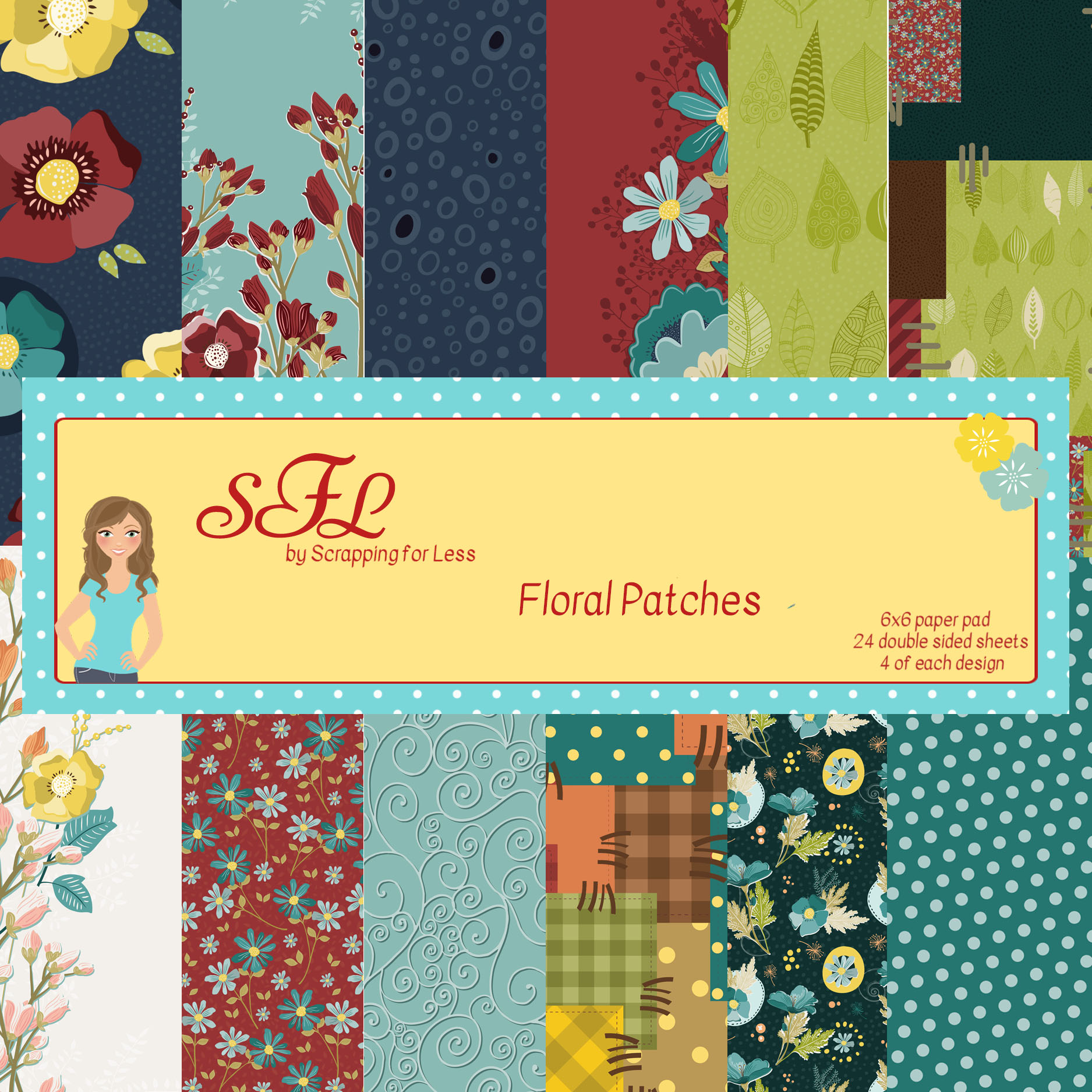 SFL Floral Patches 6x6 Paper Pad