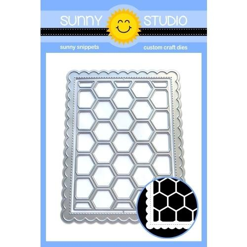 Sunny Studio Frilly Frames Hexagon Stitched Scalloped Rectangle Dies