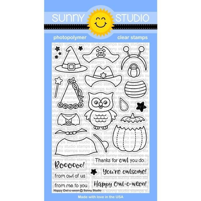 Sunny Studio Clear Stamps and Die Bundle Happy Owl-o-ween