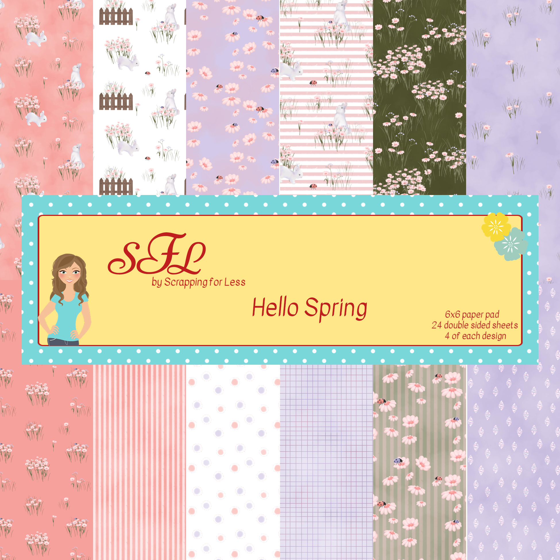 Scrapping for Less Hello Spring 6x6 Paper Pad