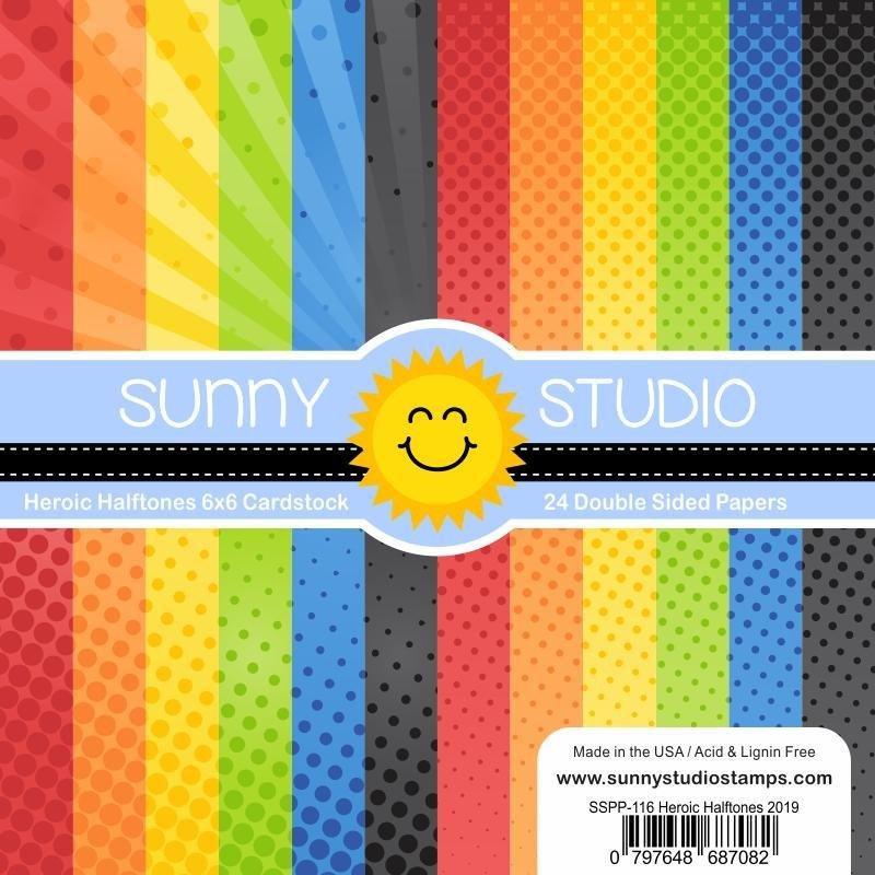 Sunny Studio 6x6 Paper Pad Heroic Halftones