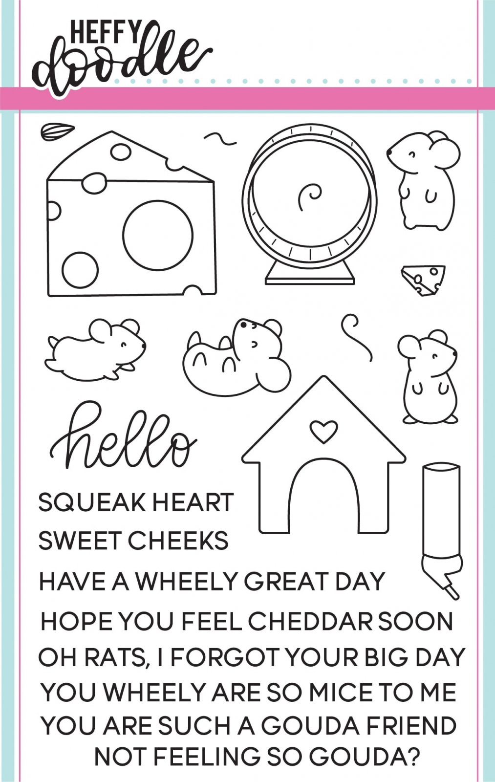 Heffy Doodle Clear Stamp Set: Hello Squeakheart