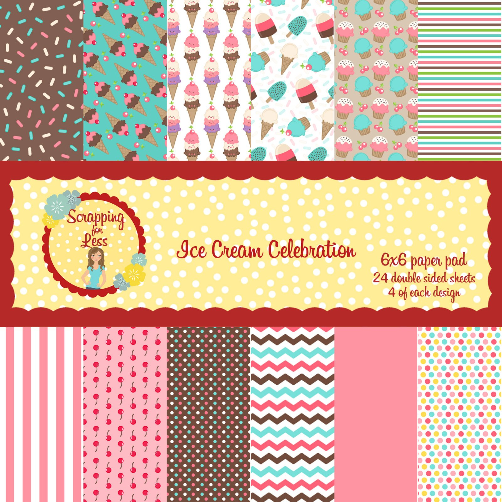 Scrapping for Less Ice Cream Celebration 6x6 Paper Pad