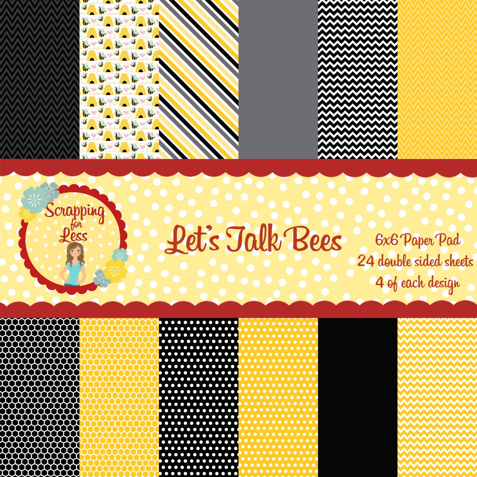 Scrapping for Less 6x6 Paper Pad Let's Talk Bees
