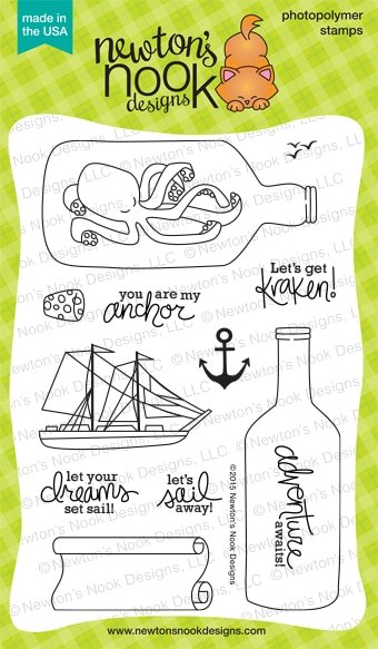 Newton's Nook. Designs Clear Stamps Message in a Bottle