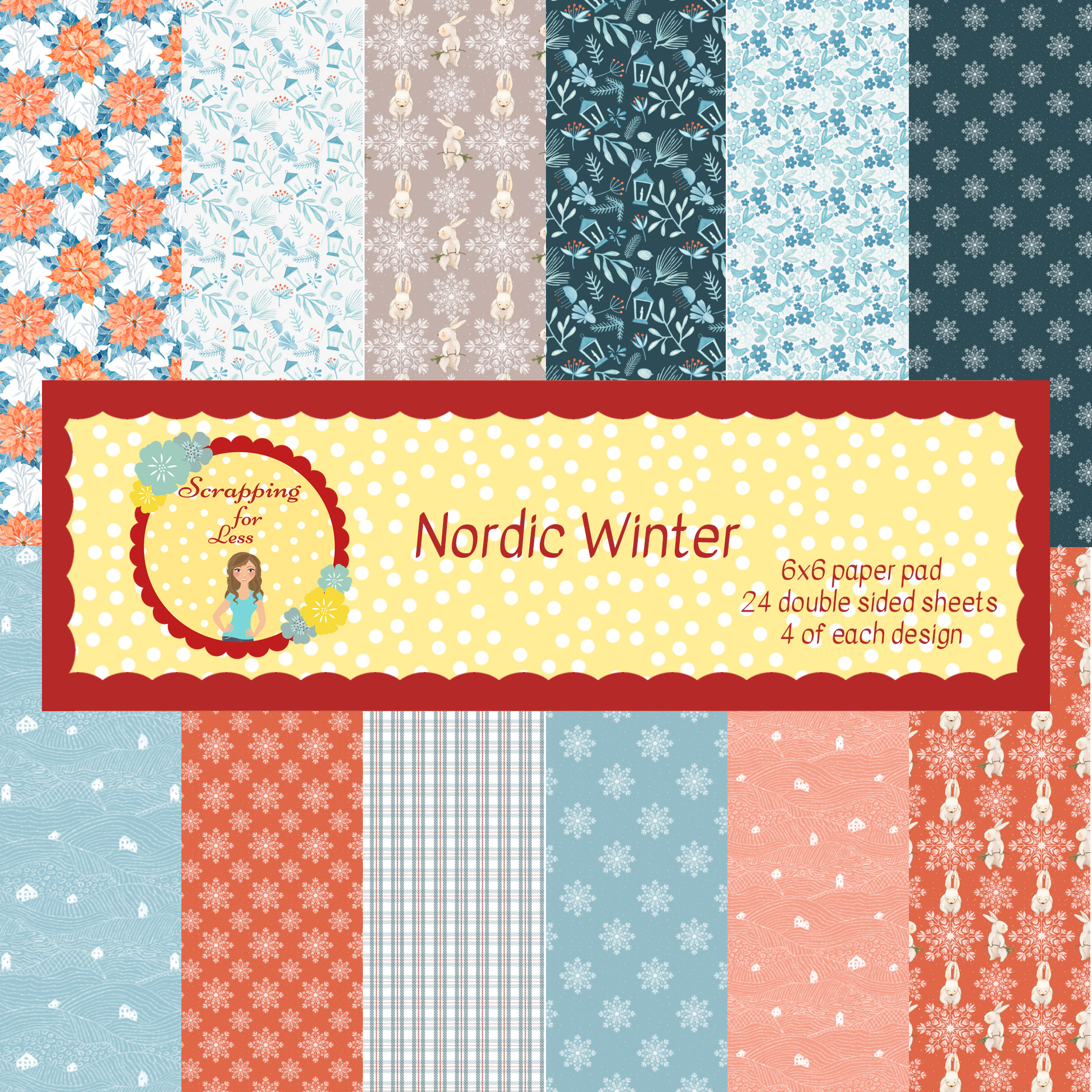 Scrapping for Less Nordic Winter 6x6 Paper Pad