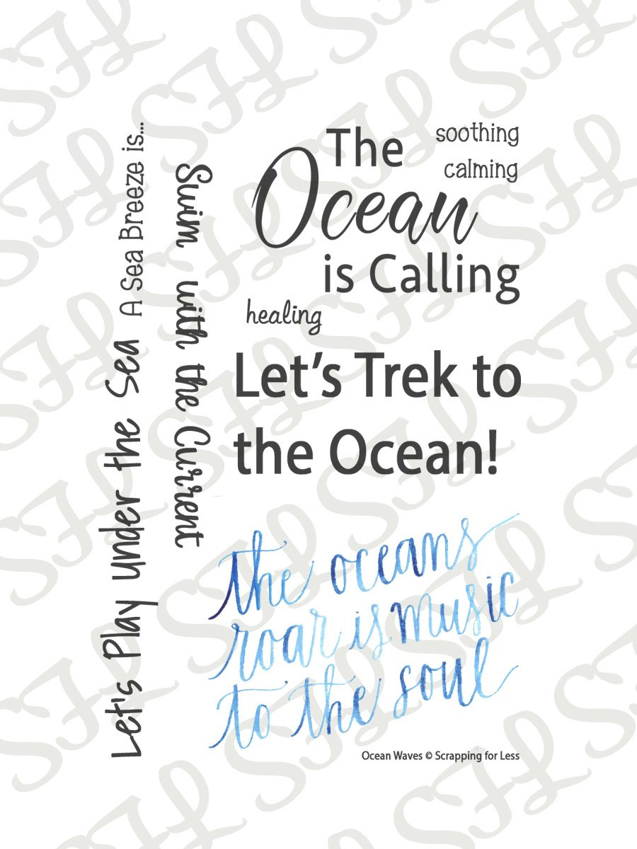 Scrapping for Less Clear Stamps Ocean Wave Sentiments