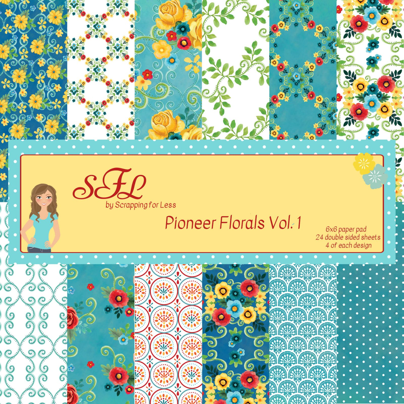 Scrapping for Less Pioneer Florals-Vol. 1 6x6 Paper Pad