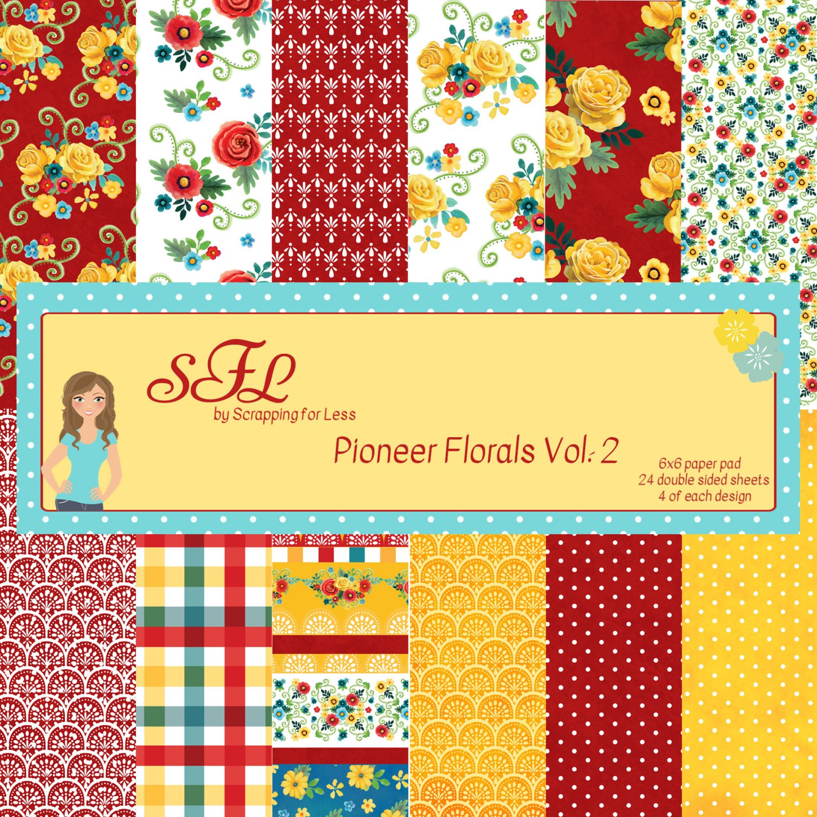 Scrapping for Less Pioneer Florals-Vol. 2 6x6 Paper Pad