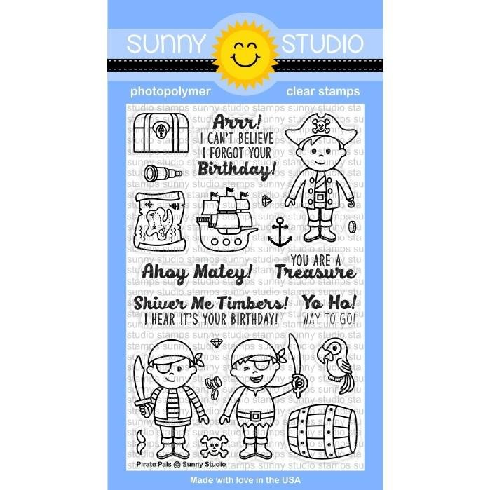 Sunny Studio Clear Stamps and Die Bundle Pirate Pals