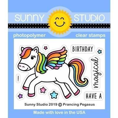 Sunny Studio Clear Stamps Prancing Pegasus