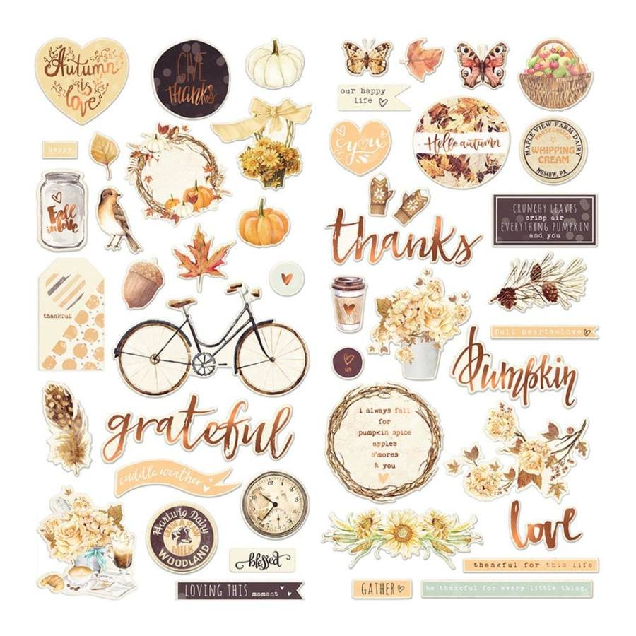 Prima Amber Moon Chipboard with Sequins