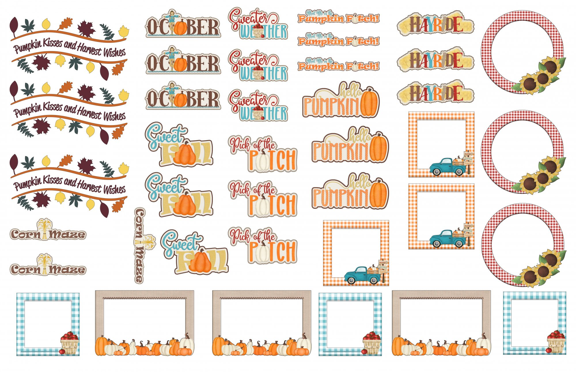 SFL Ephemera Pumpkin Patches and Harvest Wishes, frames and sentiments