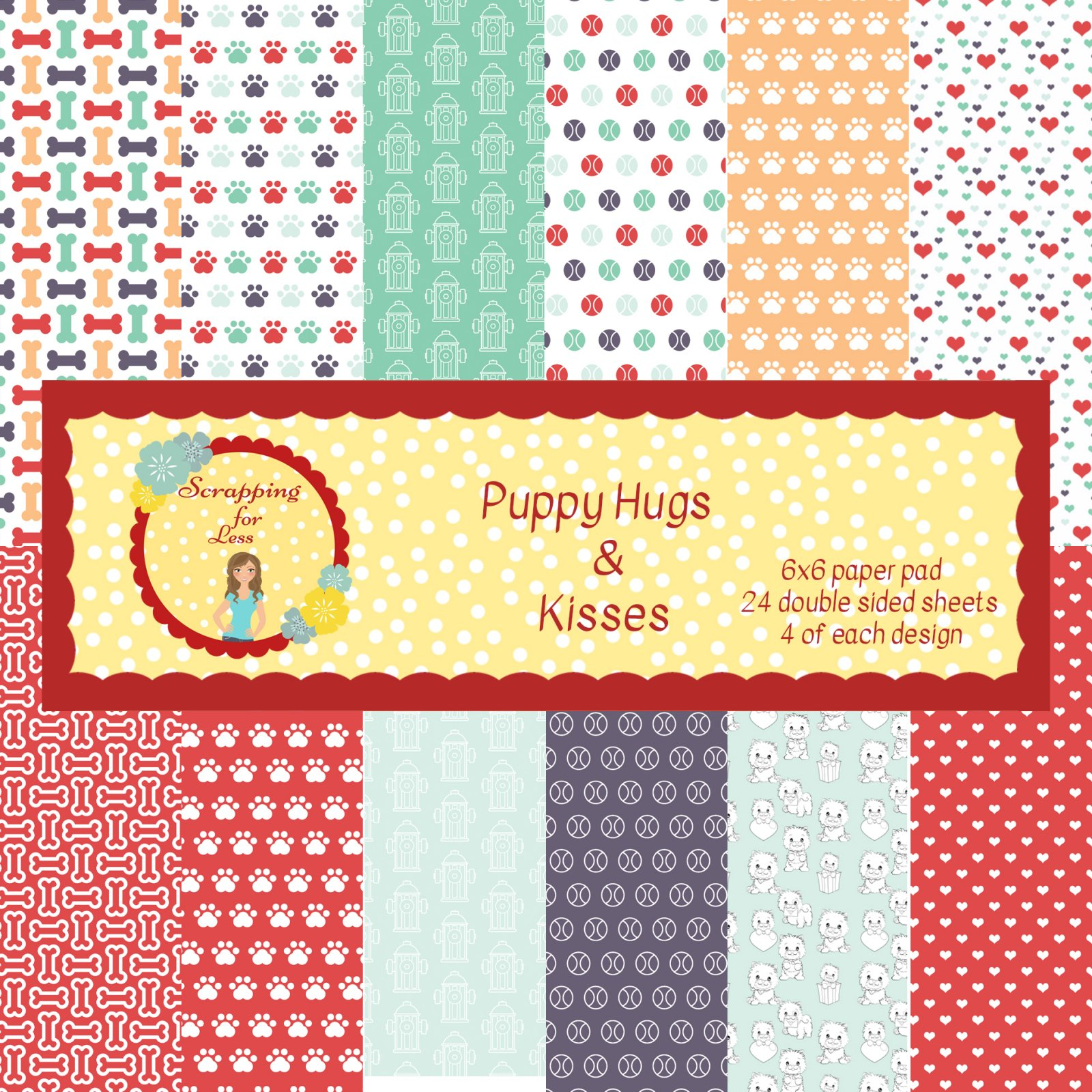 Scrapping for Less Puppy Hugs and Kisses 6x6 Paper Pad