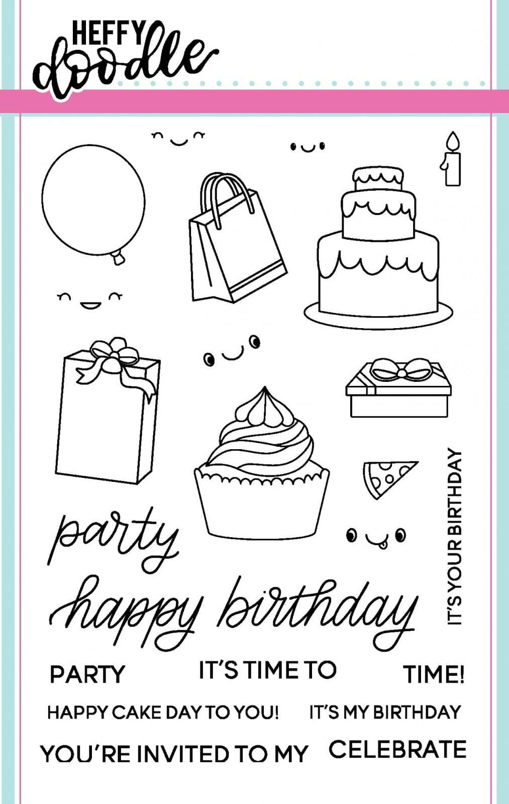 Heffy Doodle Party Palooza Stamp