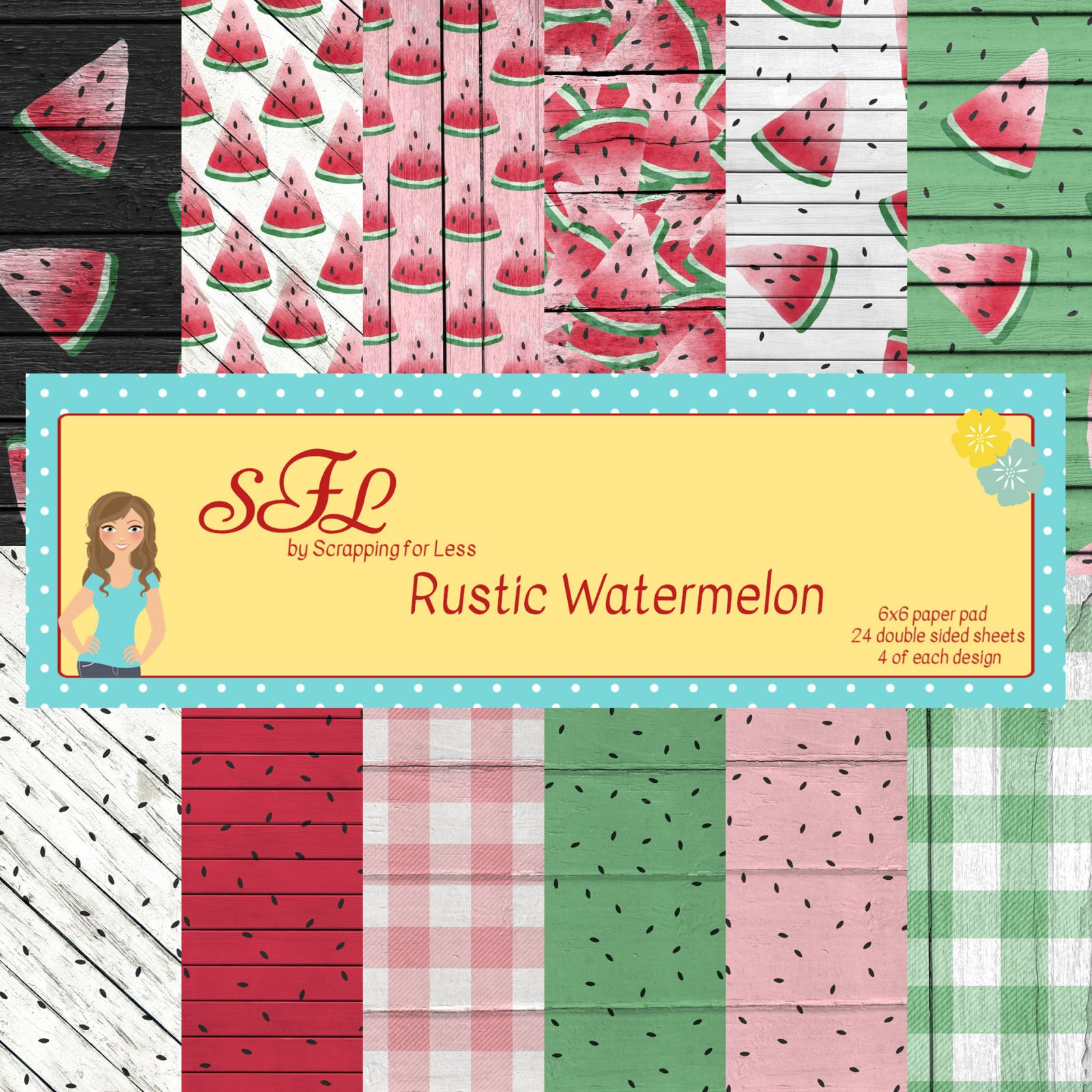 Scrapping for Less Rustic Watermelon 6x6 Paper Pad