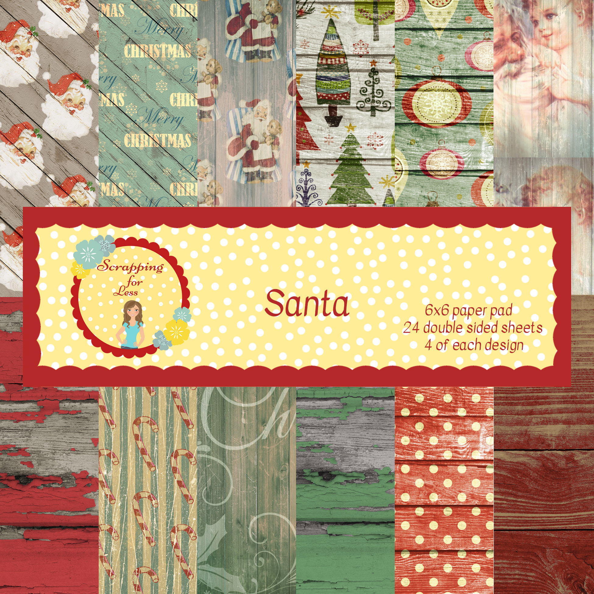 Scrapping for Less Santa 6x6 Paper Pad