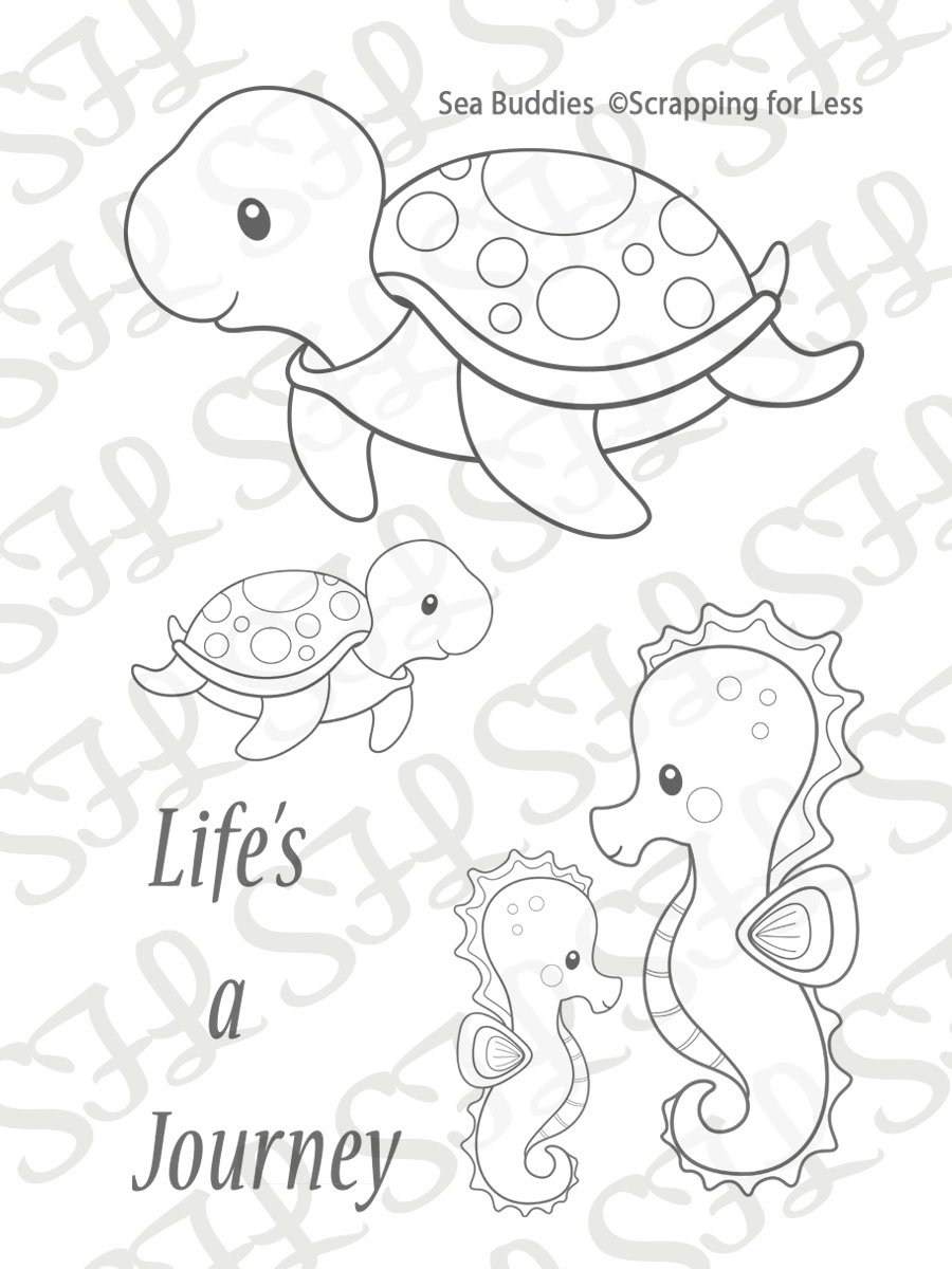 Scrapping for Less Clear Stamps Sea Buddies