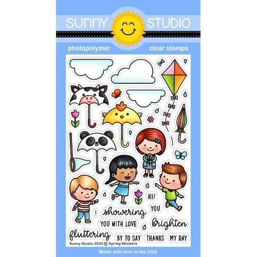 Sunny Studio Clear Stamps 4x6 Spring Showers