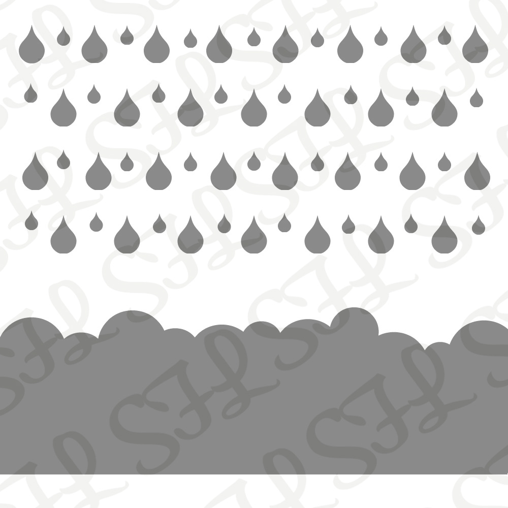 Scrapping for Less 6x6 Stencil Rain Drops and Clouds designed by Courtney Kreeber