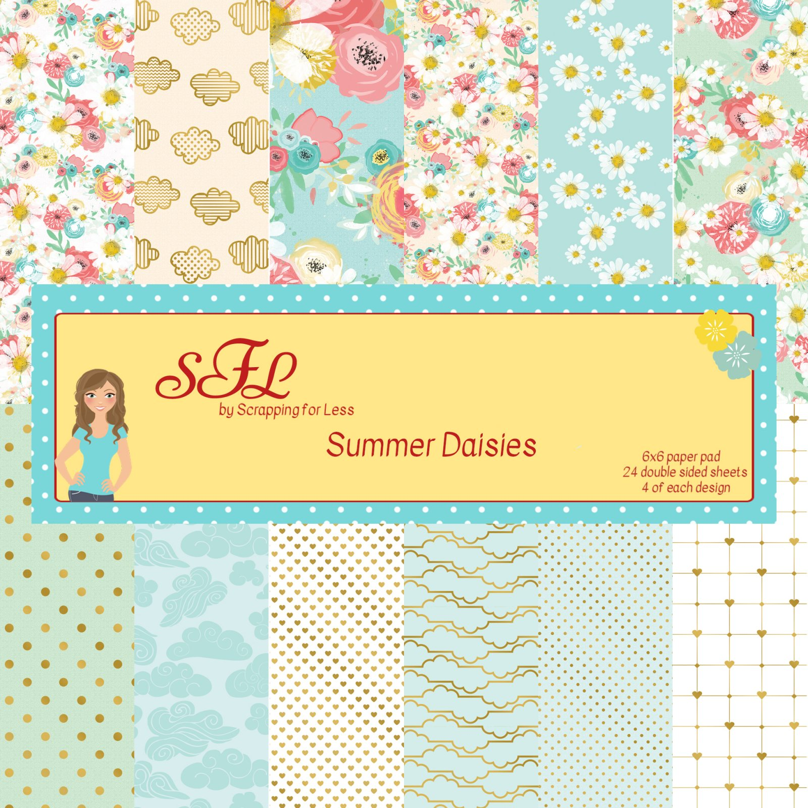 Scrapping for Less Summer Daisies 6x6 Paper Pad