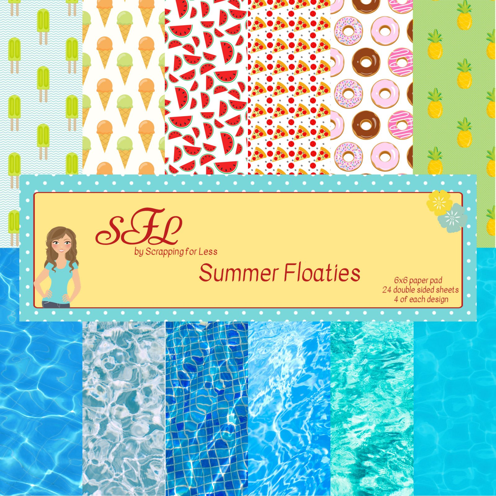 Scrapping for Less Summer Floaties 6x6 Paper Pad