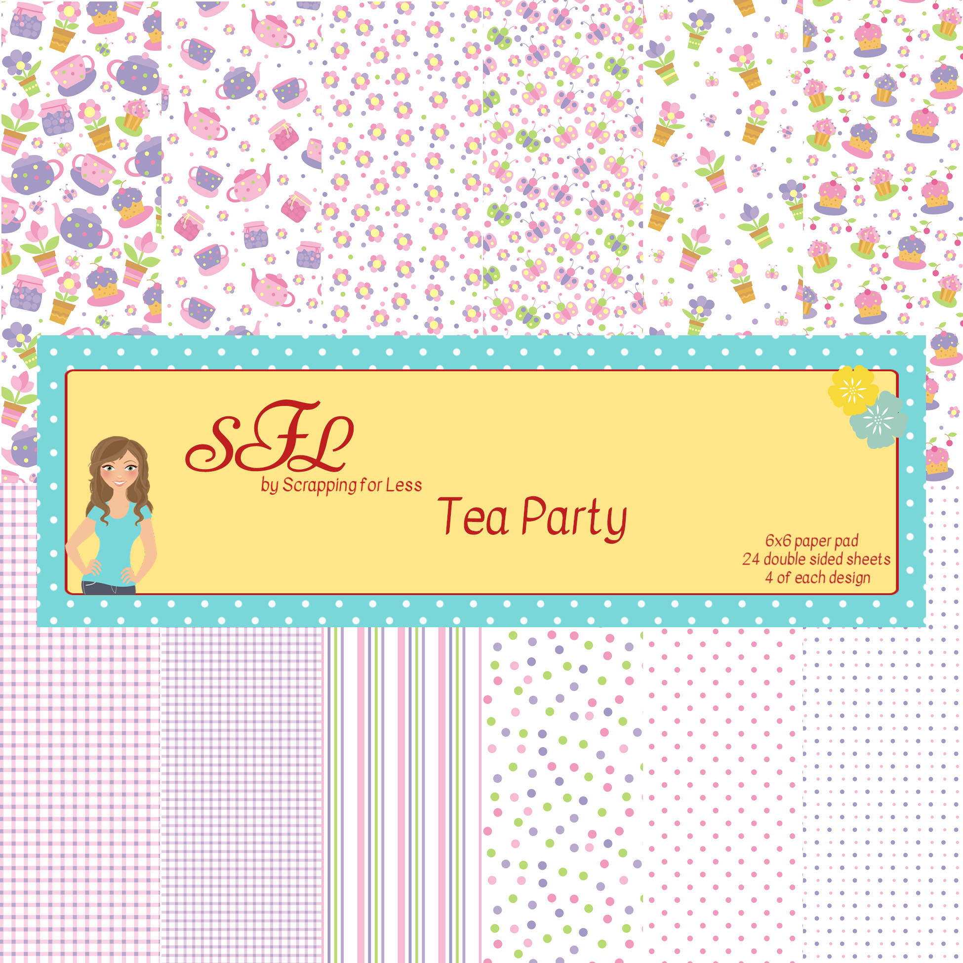 Scrapping for Less 6x6 Paper Pad Tea Party