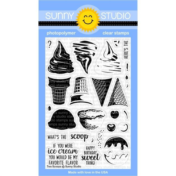 Sunny Studio Clear Stamps and Die Bundle Two Scoops