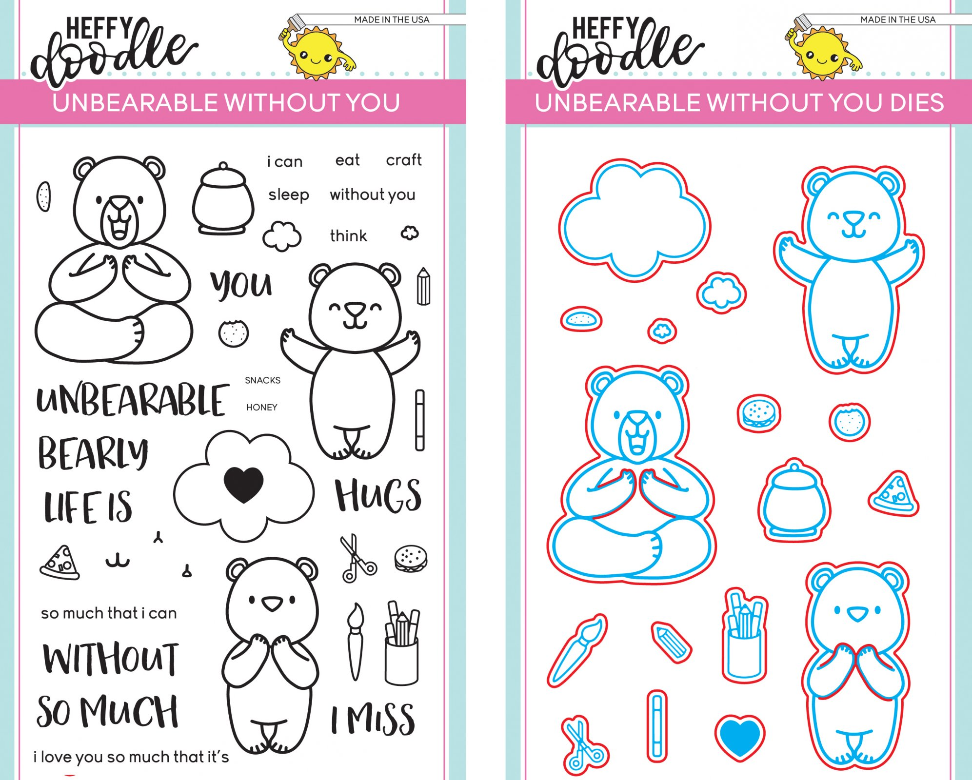 Heffy Doodle Unbearable Without You Stamp and Die Bundle