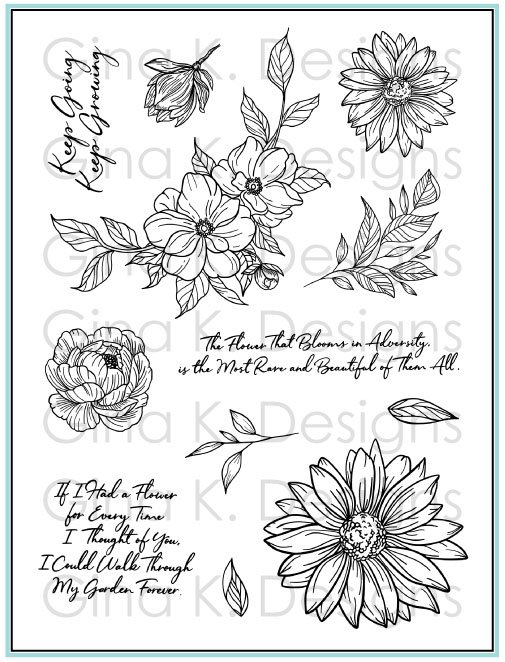 Gina K Designs Stamp Whimsical Wildflowers
