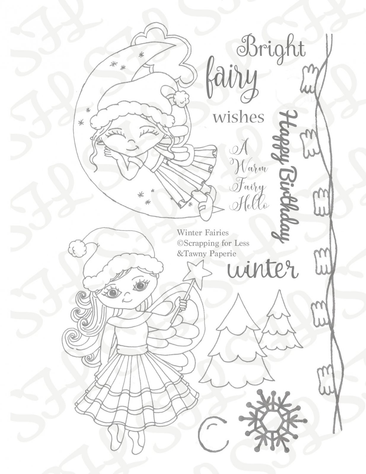 Scrapping for Less Winter Fairies 4x6 Clear Stamp