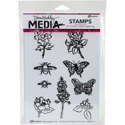 Dina Wakley Media Cling Stamps 6X9 Scribbly Flowers & Insects