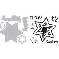 Sizzix Framelits Die & Stamp Set By Lindsey Serata 5/Pkg-Happy Hanukkah