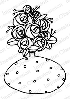 Flowers In Vase with Dots Cling Stamp