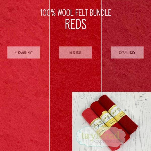 100% Wool Felt Red Bundle