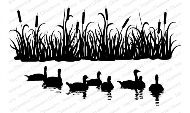 New! Slim Scenes Cattails & Geese Cling Rubber Stamp