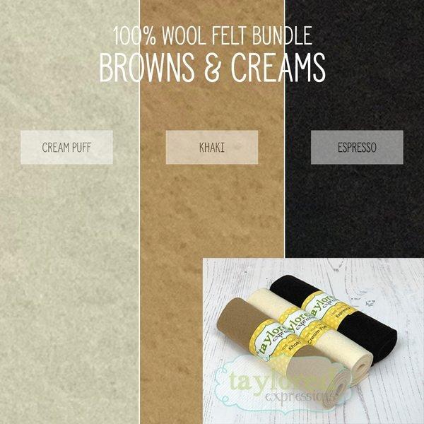 100% Wool Felt Brown/Cream