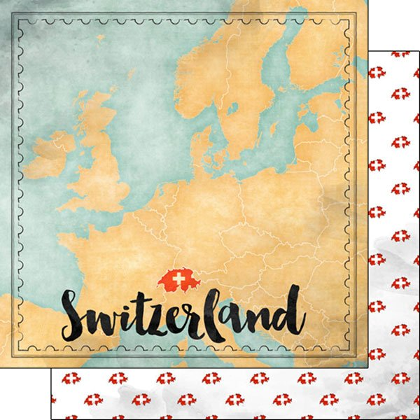 Switzerland Map Sights Paper