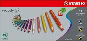 Stabilo Woody 3 in 1  Set of 18 Colors with Sharpener