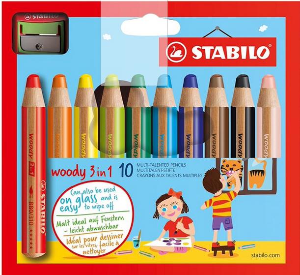 Stabilo Woody 3 in 1  Set of 10 w/ Sharpener